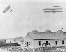 Historic Photo of Aeroplanes Flying Over the Army Aero School