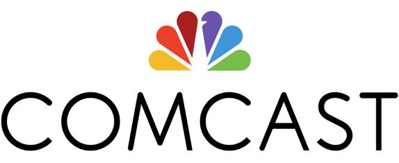Comcast logo written in black letters with colorful petal logo on top